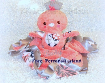 Minky baby lovey with stuffed bird toy, Free personalization included, satin ruffle or ribbons, coral, gray and navy blue colors, lovie lovy