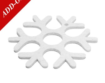 Designer Wool Felt Snowflake Coasters - 100% Wool, White, Multiple Pack Sizes Available, Add-On Item