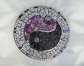 Ying Yang Yard Art Mosaic Stepping Stone ~ Mosaic Paving Slab ~ Garden Art ~ Mosaic Paving Stone ~ Spiritual Decor for Outdoors ~ Eco Art