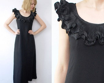 SALE...70s black maxi dress. long evening dress. origami shoulder dress - medium