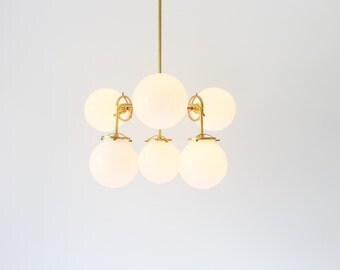 Modern Brass Chandelier Lighting Fixture, 6 White Glass Globes, BootsNGus Lighting and Home Decor