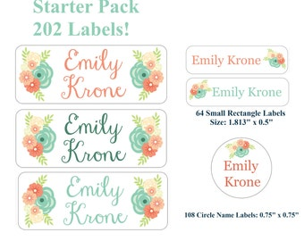 202 Personalized Name Girl Labels Daycare School Labels for Books Lunchbox Floral Roses Coral Peach Mint Light Teal