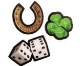 Good Luck Icons Felt Patches Set, photorealistic good luck charms, 4 leaf clover, horseshoe, dice, lucky seven, iron on, sew on, applique