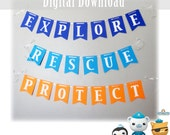 Octonauts Themed Banner for Birthday Parties Explore Rescue Protect Barnacles Peso Kwazii Printable Wall Sign DIY INSTANT DIGITAL download