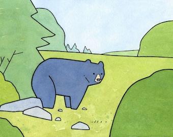 Black bear nursery art print, whimsical bear print, bear illusration
