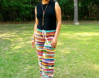 Hand Crochet Wide Leg Pants, Crochet Palazzo Pants,  Summer Pants, Swimsuit Cover-up, Beach Pants, MADE TO ORDER