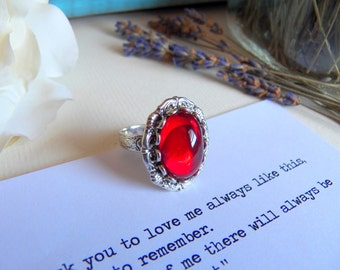 RING SALE - Vintage Ruby Red Glass - Silver Adjustable Ring - Silver Jewelry - Handmade Jewelry by HoneyNest