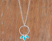 Turquoise Necklace - Turquoise Enamel and Silver Necklace - Turquoise Anise Hoop Necklace