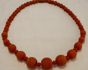 Art Deco Red Celluloid Necklace Grooved Ridged Beads