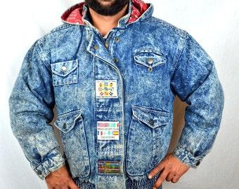 Vintage 1980s Rocker Acid Wash Jacket Coat - Paris Sport Club - Down Feathers