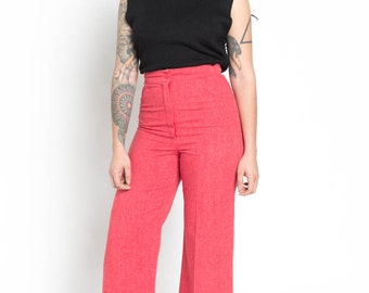 Vintage 60s Salmon Red High Waisted Cotton Wide Leg Pants | 2/4