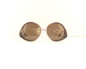 60s 70s Mod Sunglasses Frames // Women's Vintage 1960's/1970s//Grey Marbled & Transluvent ClearFrames // Made in Italy//#M199