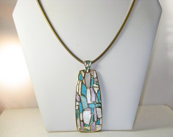 Vintage Long Gold Tone Abstract Enameled Modernist Pendant Necklace (N-4-1)
