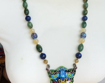 Antique Chinese silver enamel pendant, Chinese Mandarin Court beads and stone  necklace