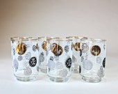 6 Mid Century Libbey Coin Glasses Coins Pattern Black White & Gold, Partytime Glasses, Vintage Cocktail Glassware 1960s 1970s