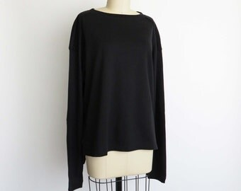 90s DRIES VAN NOTEN Pullover Black Sweatshirt Padded Elbows and Shoulders Vented Waist Made in Italy