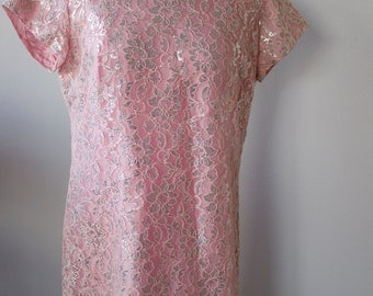 Vintage Pink and Silver Lace Short Dress