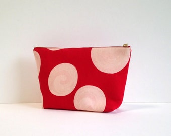 Chako Cosmetic pouch in red porka dot