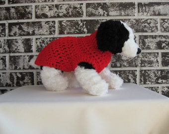 Pet sweater, red dog sweater, extra small dog sweater, small dog sweater, crochet pet sweater, classic canine sweater