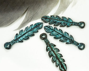 Feather Charms, Green Patina, 26mm Greek Mykonos Casting Metal Charm Pendant DIY Native, Indian, Tribal (2 pieces)
