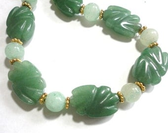 Green Carved Aventurine Necklace and Light Green Aventurine Bead Necklace with Gold Plated Daisies and Clasp