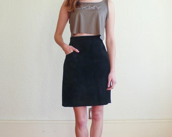 SALE / Vintage Suede 1980's Black Leather High Waisted Firenze Mini Pencil Skirt S/M