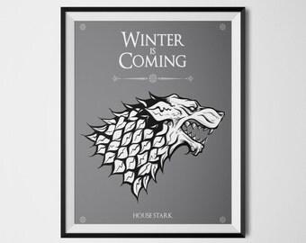 House Stark Game of Thrones Stark Direwolf Winter is Coming Sansa Stark Arya Stark Jon Snow Art Print Banner House Stark Sigil Banner Flag