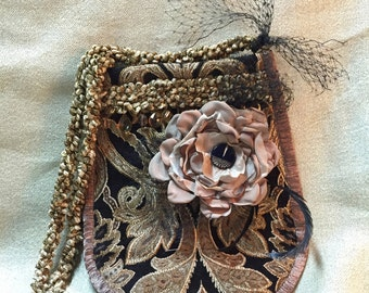 Evening Bag - Black and Taupe Formal Evening Shoulder Bag - Singed Flower w Vintage Nuvo Button - OOAK Shoulder Bag