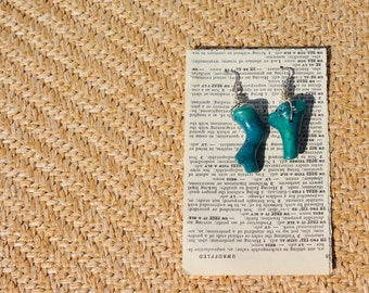 Asymetrical Turquoise Coral Earrings, Sterling Silver, Boho Jewelry