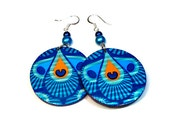 Vibrant Peacock Earrings, Dangle, Duct Tape Jewelry, Teal, Blue