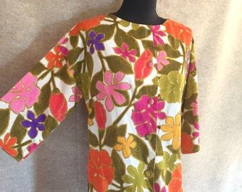 Vintage 60's HAWAIIAN Shirt, Bright Green, Pink, Orange and White Bold Floral Print, Size Medium, bust 38
