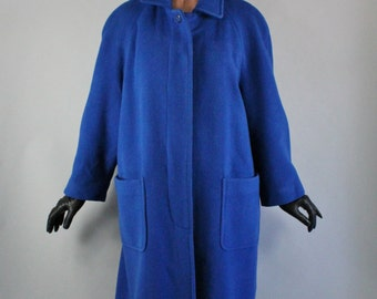 80s does 50s Retro Womens Plus Size Royal Blue Wool Long Heavy Overcoat Fall Winter Coat Formal Dress, Vintage, Size XL, FREE SHIPPING