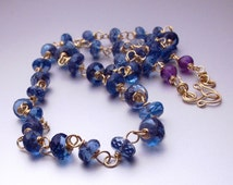 Romance - 14k Solid Gold Hand Linked London Blue Topaz and Amethyst Necklace