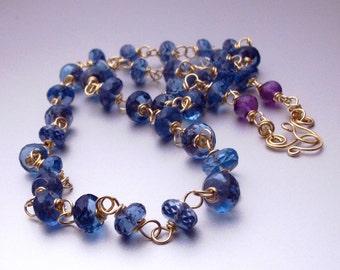 18k London Blue Topaz Necklace, 18k Solid Gold London Blue Topaz Necklace, 18k Gold Blue Topaz Necklace
