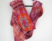 Hand-dyed Silk Scarf , Large,  44in Square, Shibori , Brown Reds, Multicolor