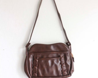 Brown Faux Leather purse 70s