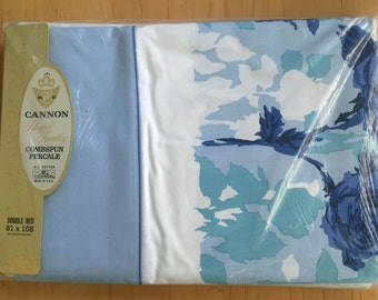 "NIP Vintage Flat Bed Sheet, All Cotton Full Size / Double Bed by Cannon, Blue Roses, Aqua Leaves, Floral Border on White, 81"" x 108"""