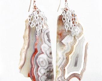 Laguna Lace Agate Chain Earrings