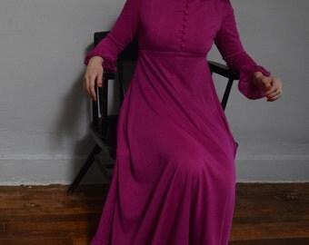 peter pan collar empire waist 70s vintage 1970s purple dress maxi long sleeve self covered buttons kitsch bishop sleeve small S medium M mod