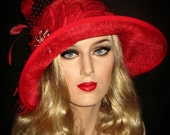 OH RUBY - 20s Red Cloche Hat, Red Hat Society, Red Gatsby Hat, Art Deco Gatsby Hat, 20s Flapper Cloche, Red Sinamay Downton Abby Hat