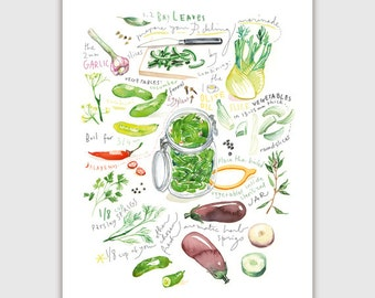 Pickle recipe print, Homemade pickles poster, Vegetable print, Green wall art, Kitchen decor, Watercolor print, Illustrated recipe, Food art