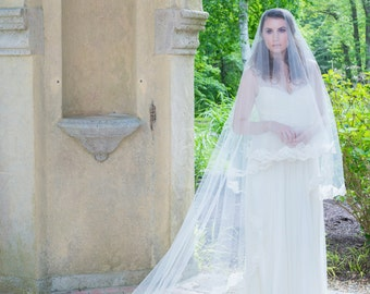 Wedding Veil - Chapel Length Drop Two-Tier Mantilla with Vintage Alencon Lace - made to order