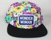 Floral 5 Panel Wonder Woman Hat w/ Leather Strap Back Purple Vintage Patch DC Comics