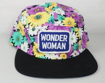 Floral 5 Panel Wonder Woman Hat w/ Leather Strap Back Purple Vintage Patch DC Comics