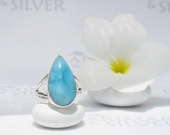 Larimarandsilver ring size 6 3/4 , Caribbean Attraction - azure Larimar pear, Swiss blue, Denim blue, Caribbean blue, handmade Larimar ring