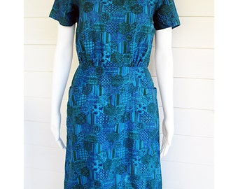 vintage 1950s dress Teal blue green soft cotton  Sheath S/M