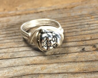 size 7.25 , 7 1/4 - silver plated metal Buddha bead, wire wrapped ring - women men unisex jewelry buddhism india spiritual spirit statement