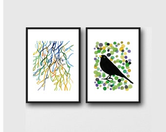 Bird watercolor, Father's day gift for him, set of 2 watercolor prints blackbird print