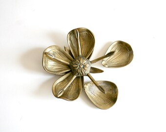 Art Deco Lotus Flower Brass Ashtray