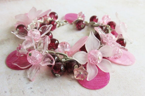 Pink flower bracelet, chunky floral bracelet, pink jewelry, beaded, romantic jewelry, gift for her